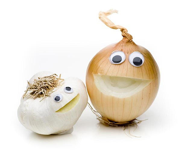 garlic and onion faces